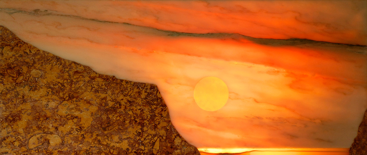 'Beach Cove', back illuminated. Rose Aurora, Spanish Broccatello, Indian Onyx, 93cm x 41cm, 2008